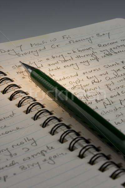 Expedition journal, handwritten with a pencil Stock photo © PixelsAway