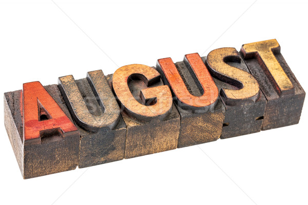August month in wood type Stock photo © PixelsAway