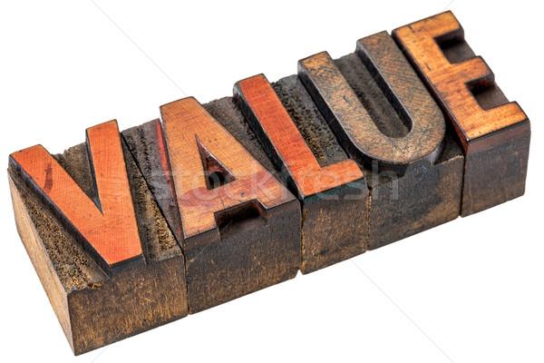 Valor palavra abstrato madeira tipo isolado Foto stock © PixelsAway