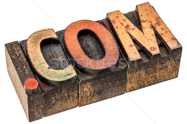 dot com domain in wood type Stock photo © PixelsAway