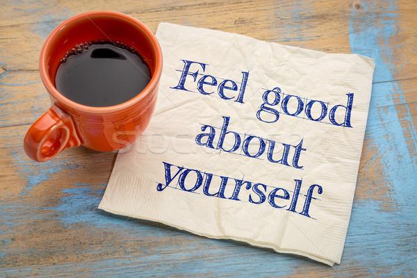 Buena usted mismo motivacional consejo escritura servilleta Foto stock © PixelsAway