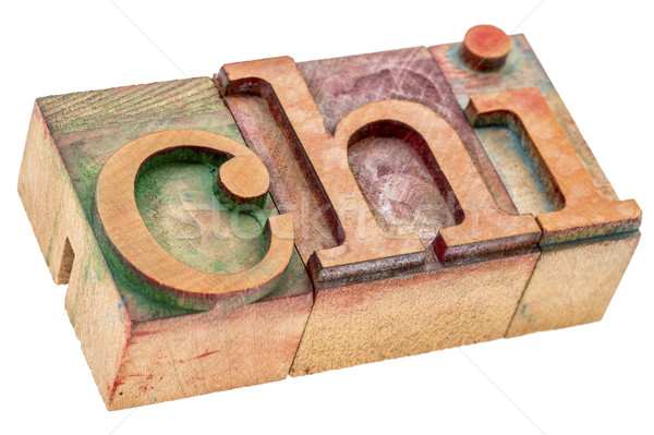 chi word abstract in wood type Stock photo © PixelsAway