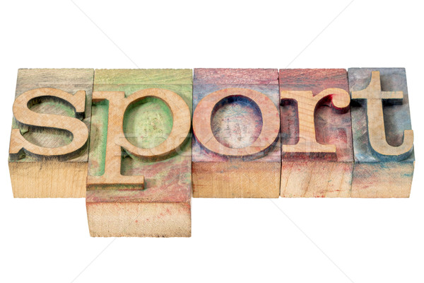 sport word in wood type Stock photo © PixelsAway