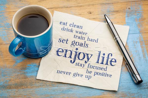 Egészséges életmód szófelhő élvezi élet szalvéta csésze Stock fotó © PixelsAway