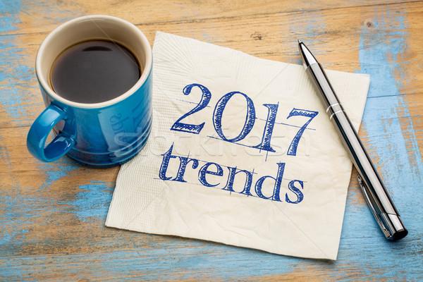 Trends servet handschrift beker espresso koffie Stockfoto © PixelsAway