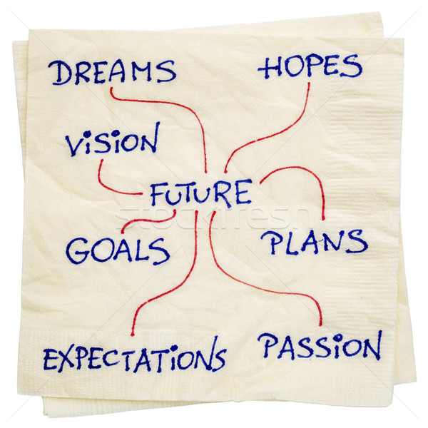 dreams, goals, plans and vision napkin doodle Stock photo © PixelsAway