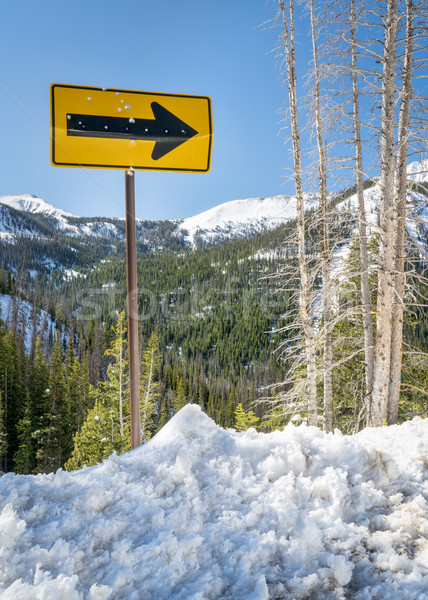 arrow road sign in mountain winter scenery Stock photo © PixelsAway
