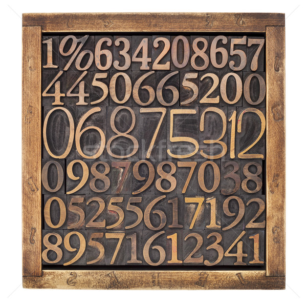 wood type numbers in box Stock photo © PixelsAway