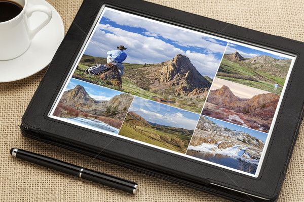 Stockfoto: Wandelen · foto's · digitale · tablet · adelaar · nest