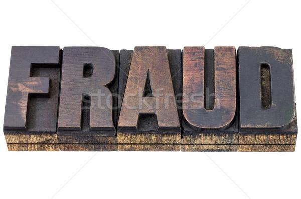Bedrog woord hout type geïsoleerd tekst Stockfoto © PixelsAway