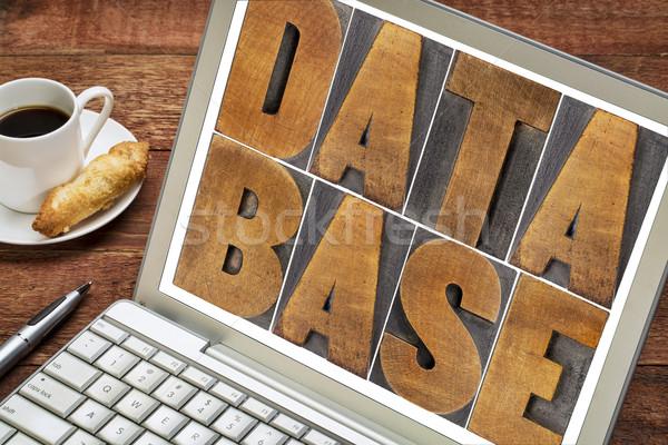 Datenbank Wort Holz Typ Laptop Bildschirm Stock foto © PixelsAway