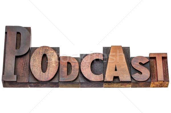 Podcast parola mista legno tipo isolato Foto d'archivio © PixelsAway