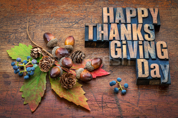 Happy Thanksgiving Day in wood type Stock photo © PixelsAway