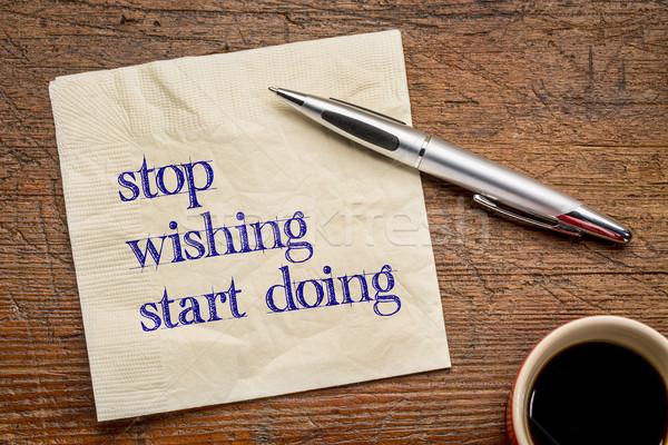 停止 開始 やる気を起こさせる 文字 ナプキン グランジ ストックフォト © PixelsAway