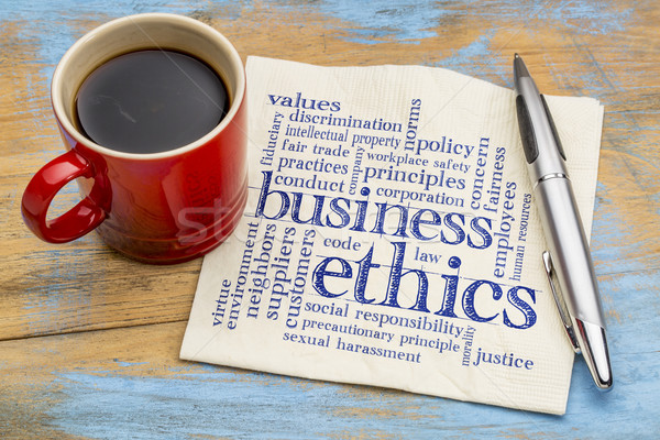 Negócio ética nuvem da palavra letra guardanapo copo Foto stock © PixelsAway