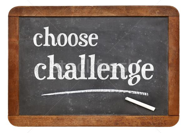 Escolher desafiar lousa assinar branco giz Foto stock © PixelsAway