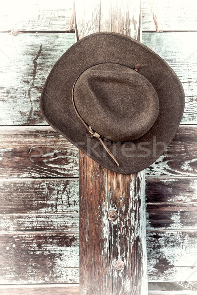 ковбойской шляпе забор коричневый шерсти кожа подвесной Сток-фото © PixelsAway