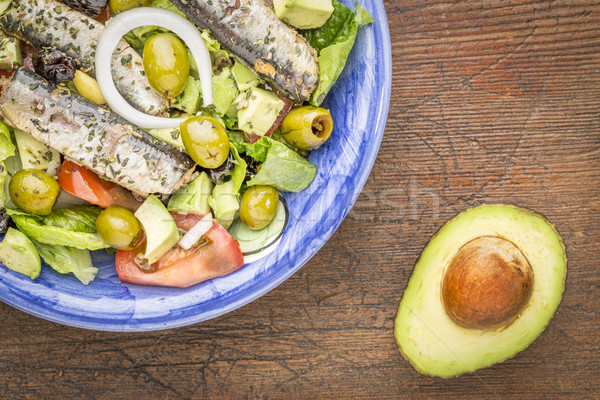sardine salad with avocado Stock photo © PixelsAway