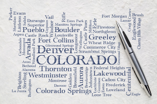 Stock photo: major cities of Colorado word cloud on a lokta paper