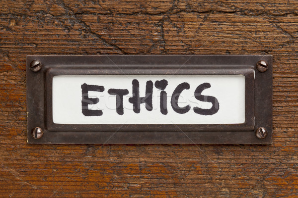 Ethik Tag Datei Schrank Label Bronze Stock foto © PixelsAway