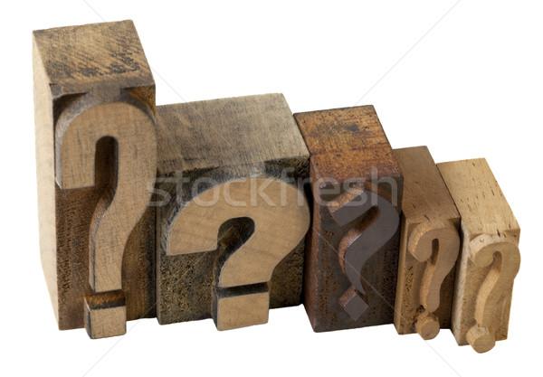 Punti interrogativi dilemma domande vintage legno Foto d'archivio © PixelsAway