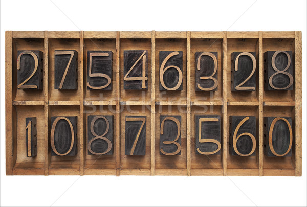 wood type numbers in a box Stock photo © PixelsAway