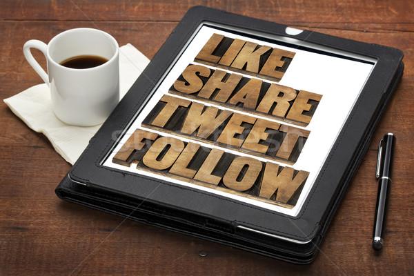 Comme tweet mots médias sociaux isolé texte Photo stock © PixelsAway