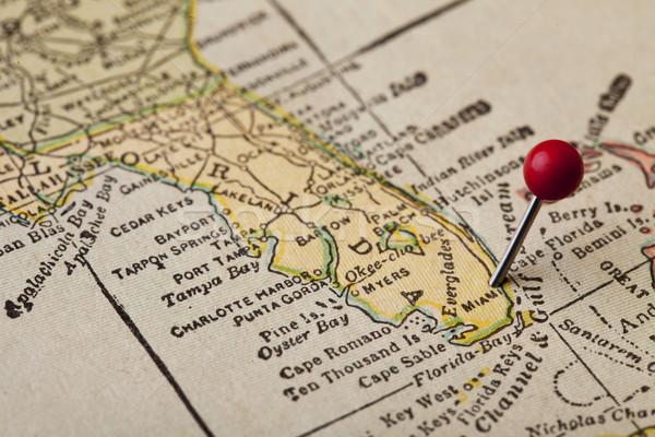 フロリダ ヴィンテージ 地図 1920 印刷 赤 ストックフォト © PixelsAway