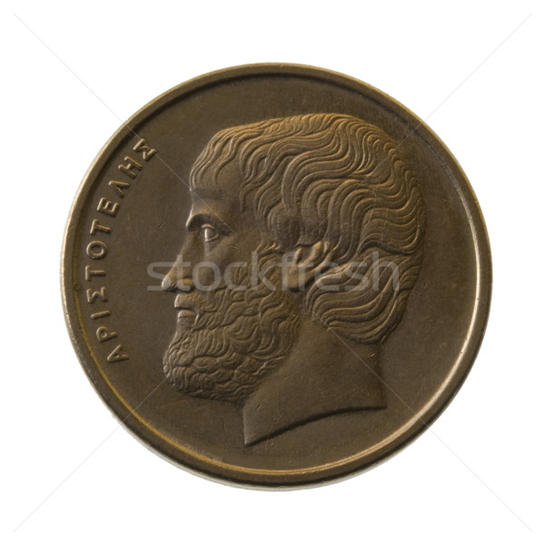 Aristotle, ancient Greek philosopher, portrait  on a  coin Stock photo © PixelsAway