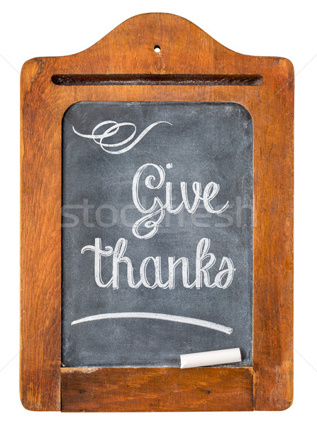 Dar gracias acción de gracias blanco tiza texto Foto stock © PixelsAway