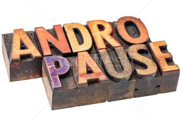 Woord hout type mannelijke menopauze geïsoleerd Stockfoto © PixelsAway