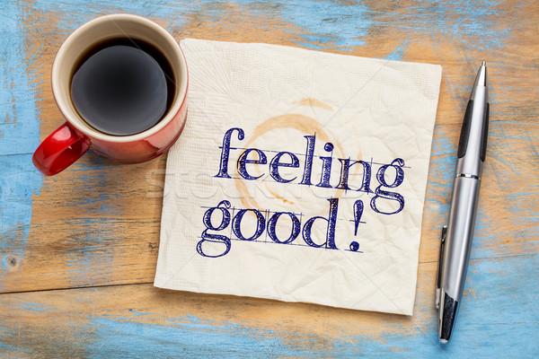 Uczucie dobre pismo serwetka kubek kawy Zdjęcia stock © PixelsAway