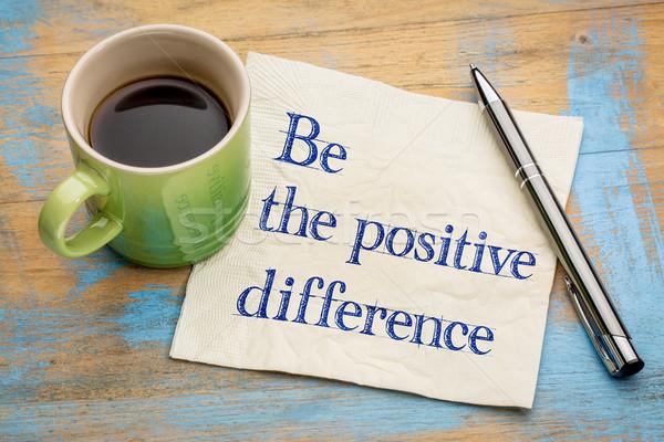 Positivo diferença letra guardanapo copo café expresso Foto stock © PixelsAway