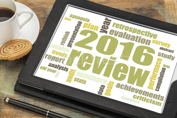 2016  review word cloud on tablet Stock photo © PixelsAway