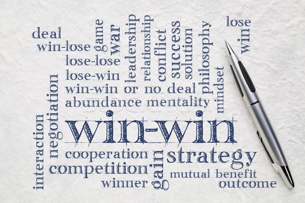 Estratégia nuvem da palavra letra branco papel vencedor Foto stock © PixelsAway
