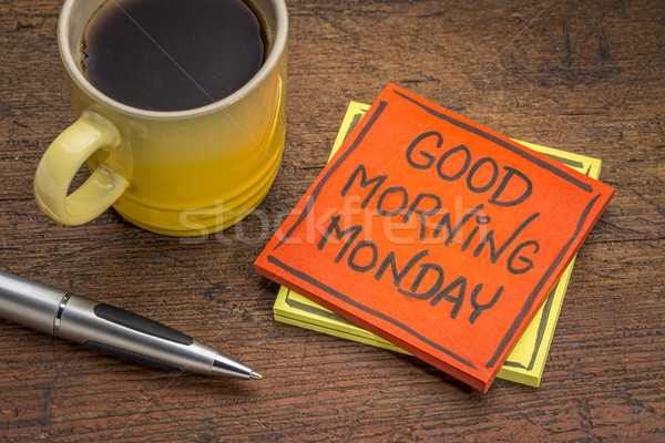 Sabah iyi dikkat kahve mesaj yapışkan not Stok fotoğraf © PixelsAway