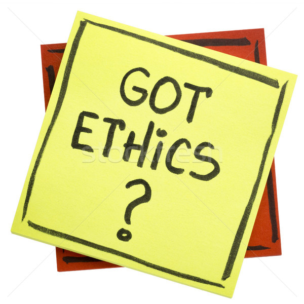 Etika kérdés öntapadó jegyzet etikus kézírás fekete Stock fotó © PixelsAway