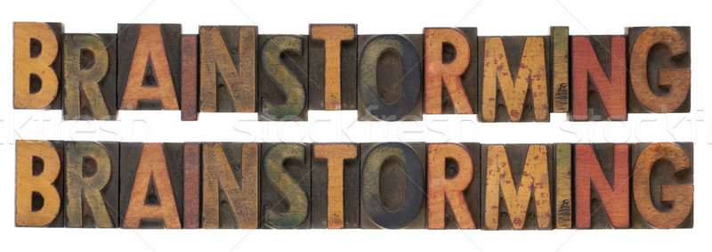 Сток-фото: мозговая · атака · Vintage · древесины · тип · слово