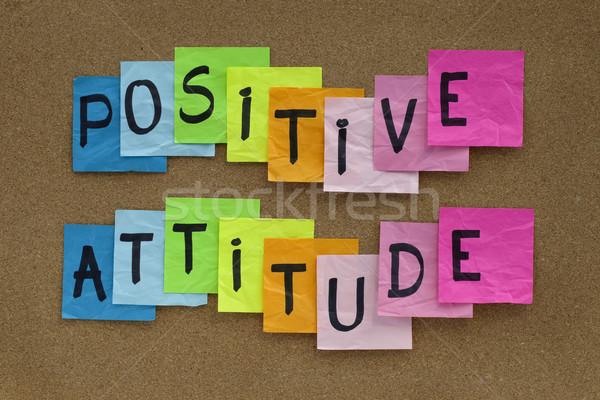 Atitude positiva lembrete colorido notas cortiça boletim Foto stock © PixelsAway
