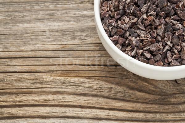 сырой какао небольшой керамической чаши древесины Сток-фото © PixelsAway