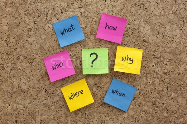 öntapadó jegyzet elme térkép kérdések parafa tábla egyszerű Stock fotó © PixelsAway