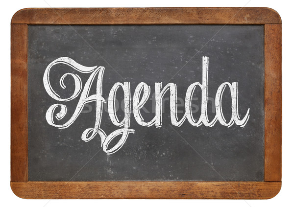 agenda word on blackboard Stock photo © PixelsAway