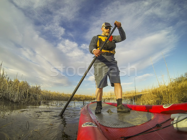 stand up paddling (SUP) in a wetland Stock photo © PixelsAway