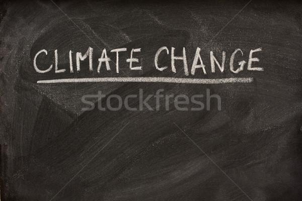 Iklim değişikliği başlık tahta beyaz tebeşir eğitim Stok fotoğraf © PixelsAway