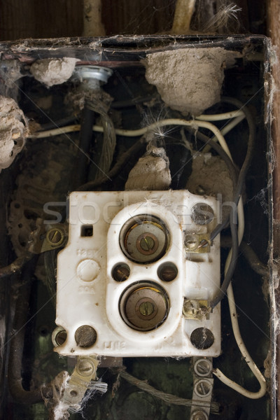 Wiring problem? Old fuse box with spider webs, blowball seeds an Stock photo © PixelsAway