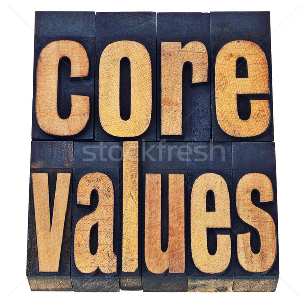 core values in wood type - ethics concept Stock photo © PixelsAway