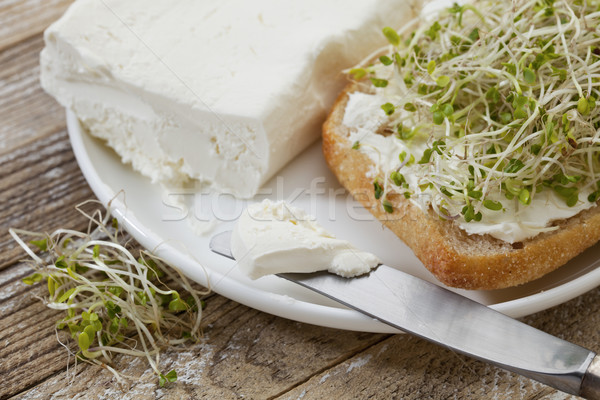 roll, cream cheese and broccoli sprouts Stock photo © PixelsAway
