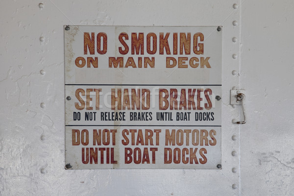 no smoking warning sign on a vintage ferry ship Stock photo © PixelsAway