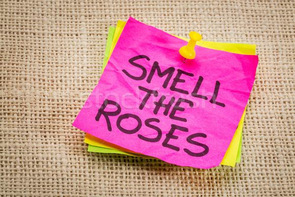 Odore rose promemoria nota nota adesiva Foto d'archivio © PixelsAway