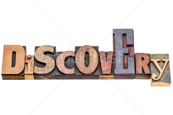 Descubrimiento palabra vintage madera tipo aislado Foto stock © PixelsAway